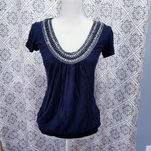 Navy Blue Top with Embellished Beading Stone Neck